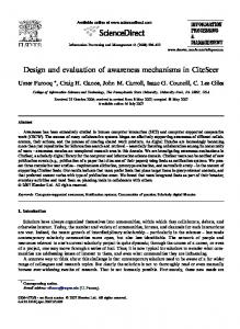 Design and evaluation of awareness mechanisms in ... - C. Lee Giles