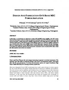 DESIGN AND FABRICATION OF S-BAND MIC POWER AMPLIFIER