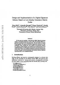Design and Implementation of a Digital Signature Scheme Based on