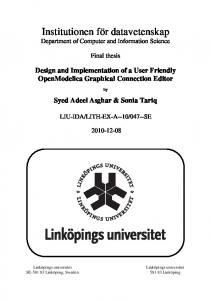 Design and Implementation of a User Friendly OpenModelica ...