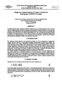 Design and Implementation of Cosine Transforms ... - Magdy Saeb