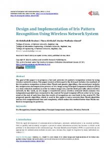 Design and Implementation of Iris Pattern Recognition Using Wireless ...