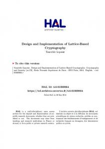 Design and Implementation of Lattice-Based Cryptography