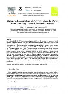 Design and Manufacture of Polyvinyl Chloride (PVC ... - ScienceDirect