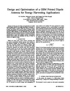 Design and Optimization of a GSM Printed Dipole Antenna for Energy ...