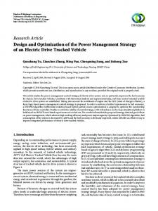 Design and Optimization of the Power Management Strategy of an
