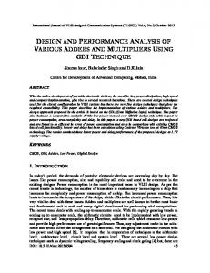 design and performance analysis of various ... - Aircc Digital Library
