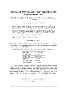 Design and Performance of the Cornell ERL DC ... - CLASSE Cornell