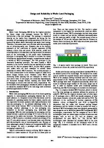 Design and Reliability in Wafer Level Packaging - College of ...