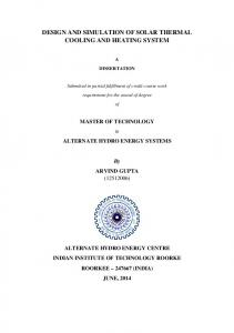 design and simulation of solar thermal cooling and