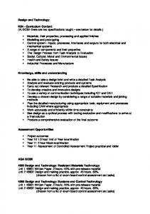 Design and Technology KS4 - Curriculum Content (At GCSE there ...