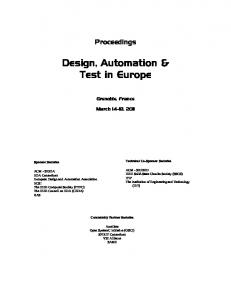 Design, Automation & Test in Europe - IEEE Xplore