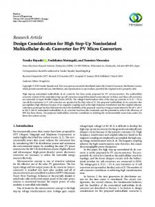Design Consideration for High Step-Up Nonisolated Multicellular dc
