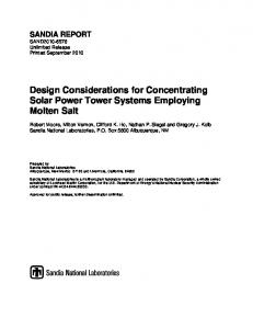 Design Considerations for Concentrating Solar Power ... - CiteSeerX