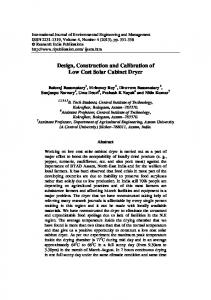 Design and construction of a low cost photovoltaic generator for design construction and calibration of low cost solar cabinet dryer sciox Image collections