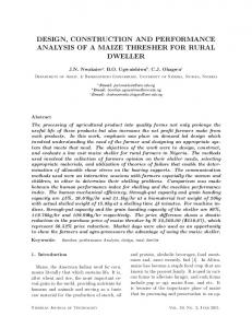 design, construction and performance analysis of a maize thresher for ...