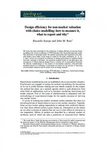Design efficiency for non-market valuation with ... - AgEcon Search