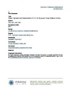 Design, Fabrication and Characterization of Thin Film ... - eScholarship