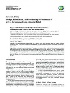 Design, Fabrication, and Swimming Performance of a Free-Swimming ...