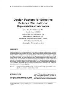design Factors for Effective science simulations - NYU