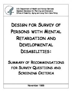 Design for Survey of Persons with Mental Retardation and ...