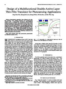 Design of a Multifunctional Double-Active-Layer Thin ... - IEEE Xplore