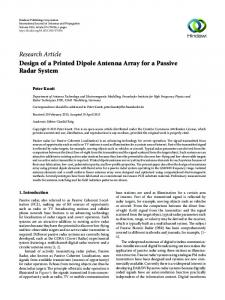 Design of a Printed Dipole Antenna Array for a Passive Radar System
