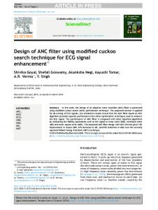 Design of ANC filter using modified cuckoo search
