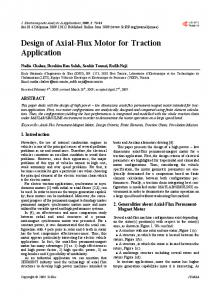 Design of Axial-Flux Motor for Traction Application - Scientific ...