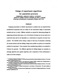 Design of experiment algorithms for assembled ...
