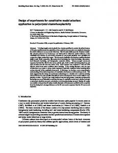 Design of experiments for constitutive model selection: application to ...