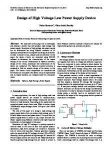 Design of High Voltage Low Power Supply Device - Horizon Research ...