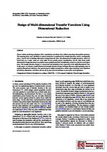 Design of Multi-dimensional Transfer Functions