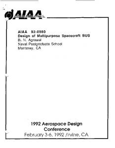 Design of multi-mission spacecraft bus - Naval Postgraduate School