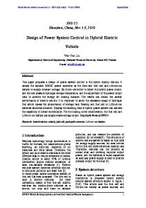 Design of Power System Control in Hybrid Electric Vehicle - MDPI
