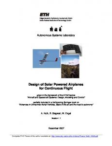Design of Solar Powered Airplanes for Continuous ... - prog-paradisaea