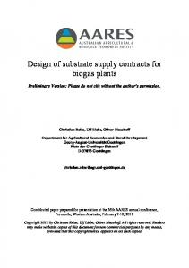 Design of substrate supply contracts for biogas plants - AgEcon Search