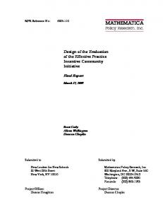 Design of the Evaluation of the Effective Practice Incentive ... - Eric