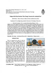 Design of the Point Absorber Wave Energy Converter for ... - CiteSeerX