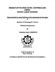 design of water level controller using fuzzy logic system - ethesis