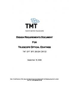 design requirements document for telescope optical coatings