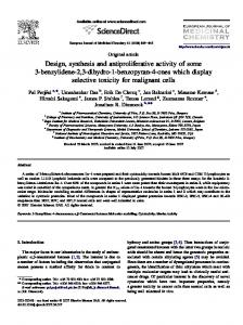 Design, synthesis and antiproliferative activity of some