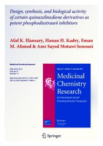 Design, synthesis, and biological activity of certain quinazolinedione ...