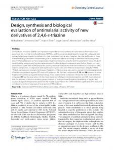 Design, synthesis and biological evaluation of antimalarial activity of ...