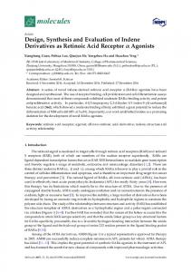 Design, Synthesis and Evaluation of Indene Derivatives as ... - MDPI