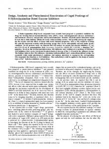 Design, Synthesis and Photochemical Reactivation of Caged ...