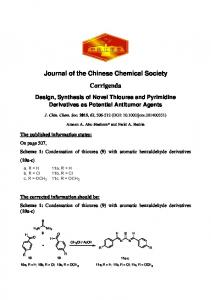 Design, Synthesis of Novel Thiourea and Pyrimidine Derivatives as ...