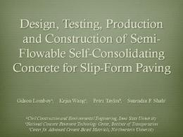 Design, testing, production and construction of Semi-Flowable Self ...