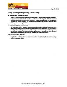 Design Thinking in Engineering Course Design - Asee peer