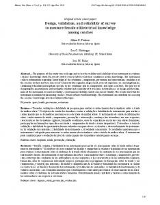 Design, validation, and reliability of survey to measure ... - SciELO